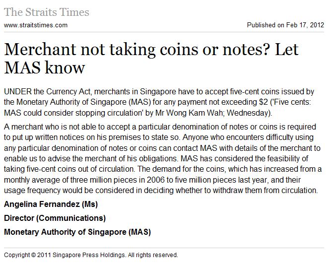 Merchant not taking coins or notes? Let MAS know