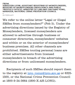 sms from illegal moneylenders