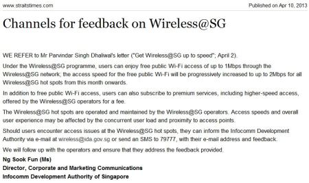 feedback on wireless@sg