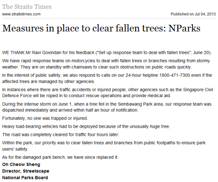 NParks Measures in place to clear fallen trees