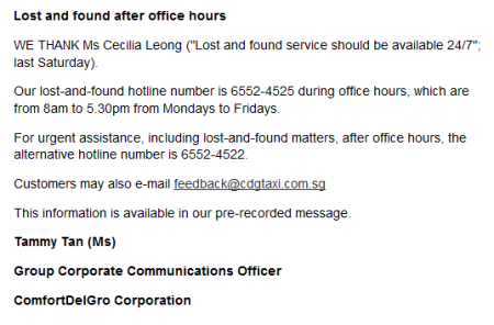 ComfortDelGro Lost and found after office hours