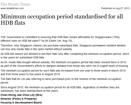 min occupation period for hdb flats