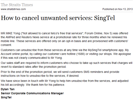 How to cancel unwanted services SingTel